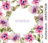 watercolor pink and purple... | Shutterstock . vector #1085079038
