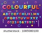 colourful bold alphabet. urban... | Shutterstock .eps vector #1085080100