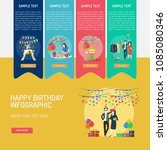 happy birthday infographic | Shutterstock .eps vector #1085080346