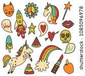 set of retro colored funny...   Shutterstock . vector #1085096978