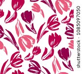 pink and white sketch tulip... | Shutterstock .eps vector #1085097050