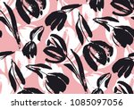 hand drawn pale tulip seamless... | Shutterstock .eps vector #1085097056