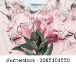 florist work space with pastel... | Shutterstock . vector #1085101550