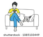 young man  using smartphone ... | Shutterstock .eps vector #1085103449