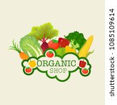 text organic shop logo with... | Shutterstock .eps vector #1085109614