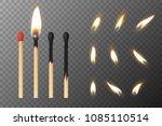 vector 3d realistic match stick ...   Shutterstock .eps vector #1085110514