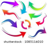 set of curved colorful isolated ... | Shutterstock .eps vector #1085116010