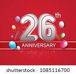 26th anniversary design red... | Shutterstock .eps vector #1085116700