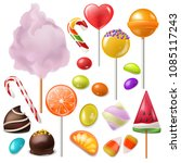 candy vector sweet food dessert ... | Shutterstock .eps vector #1085117243