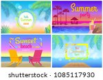 sunset beach party hello summer ... | Shutterstock .eps vector #1085117930