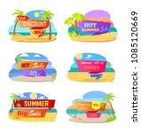 hot summer sale promotional... | Shutterstock .eps vector #1085120669