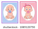 girl and boy kids collection ... | Shutterstock .eps vector #1085120750