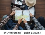overhead view of traveler's... | Shutterstock . vector #1085125364