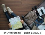 overhead view of traveler woman ... | Shutterstock . vector #1085125376