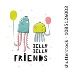 baby print with jellyfishes ... | Shutterstock .eps vector #1085126003
