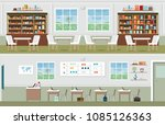 interior of library and... | Shutterstock .eps vector #1085126363