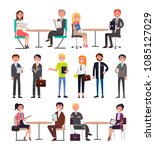 office workers with briefcases... | Shutterstock .eps vector #1085127029