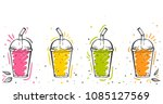 colorful set of smoothies.... | Shutterstock .eps vector #1085127569