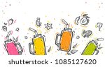 smoothie in glass bottle with... | Shutterstock .eps vector #1085127620