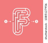 letter f shape maze labyrinth ... | Shutterstock .eps vector #1085127956