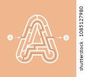 letter a shape maze labyrinth ... | Shutterstock .eps vector #1085127980