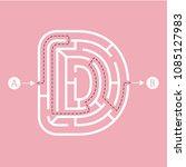 letter d shape maze labyrinth ... | Shutterstock .eps vector #1085127983