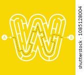 letter w shape maze labyrinth ... | Shutterstock .eps vector #1085128004
