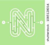 letter n shape maze labyrinth ... | Shutterstock .eps vector #1085128016
