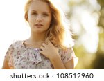blonde beautiful young girl - stock photo