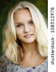 blonde beautiful young girl - stock photo