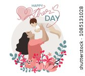 happy mothers day greeting card ...   Shutterstock .eps vector #1085131028