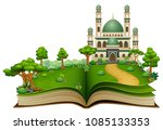 open book with islamic mosque... | Shutterstock .eps vector #1085133353