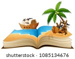 open book with group of pirate... | Shutterstock .eps vector #1085134676