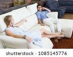 merry shoppers are choosing... | Shutterstock . vector #1085145776