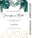 wedding invitation tropical... | Shutterstock .eps vector #1085151239