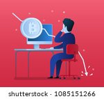 concept of crypto currency....   Shutterstock .eps vector #1085151266