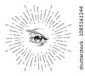hand drawn eye of providence... | Shutterstock .eps vector #1085161244