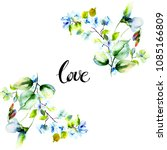 stylized spring flowers with...   Shutterstock . vector #1085166809
