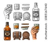 whiskey glass with ice cubes ... | Shutterstock .eps vector #1085167640