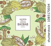 background with baobab  baobab... | Shutterstock .eps vector #1085170034