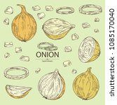 collection of with onion  rings ... | Shutterstock .eps vector #1085170040