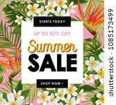 summer sale floral banner.... | Shutterstock .eps vector #1085173499