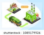recycling plant and waste truck ... | Shutterstock .eps vector #1085179526