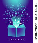 open book of school education... | Shutterstock .eps vector #1085181683