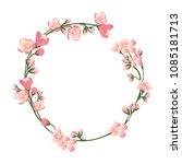 beautiful round frame with... | Shutterstock .eps vector #1085181713