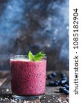 blueberry smoothie decorated... | Shutterstock . vector #1085182904