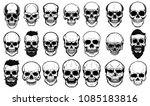 Set of human skull illustrations on white background. Design element for label, emblem, sign,logo, poster. Vector image
