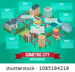 isometric vector city... | Shutterstock .eps vector #1085184218