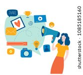 social media  networking ... | Shutterstock .eps vector #1085185160