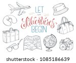 hand drawn travel objects... | Shutterstock .eps vector #1085186639